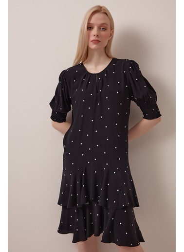 Gusto Puanlı Viskon Elbise - Siyah Puanlı Viskon Elbise - Siyah Siyah